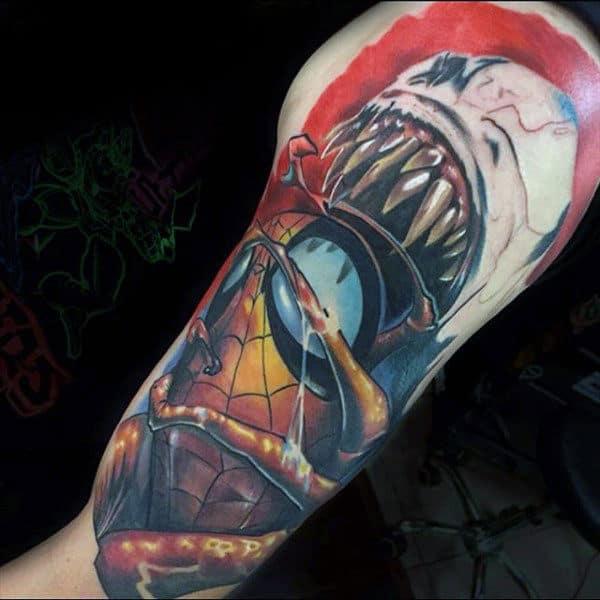 Mens Upper Arms Spiderman Getting Swallowed Tattoo
