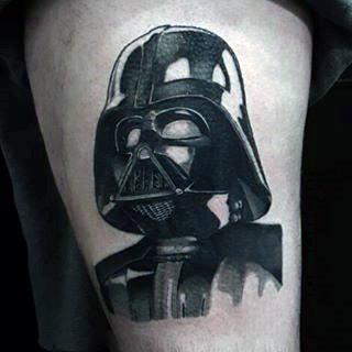 Mens Upper Arms Tiny Darth Vader Tattoo