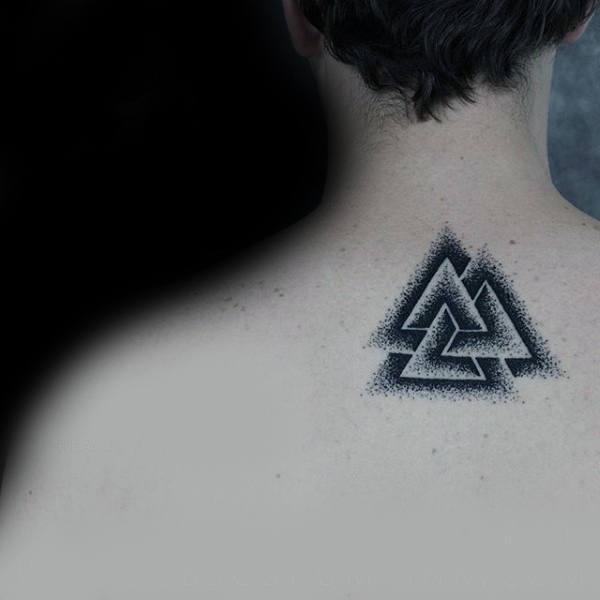 Mens Upper Back Black And Grey Dotwork Valknut Tattoos