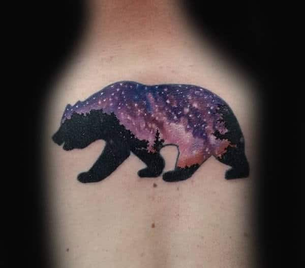 Mens Upper Back California Night Sky Bear Tattoo