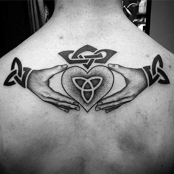 Mens Upper Back Claddagh Tattoo Designs