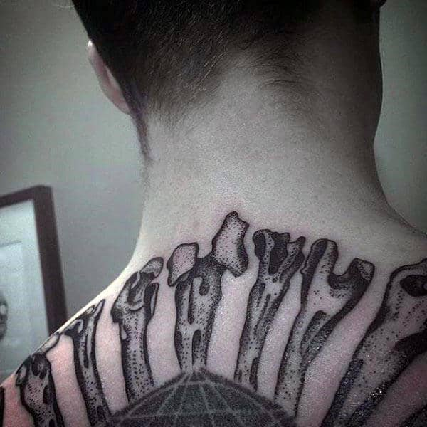 Mens Upper Back Dotwok Tattoo Of Bones