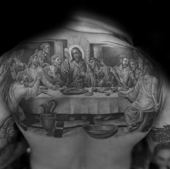 Mens Upper Back Religious Tattoo Of Jesus At The Last Supper