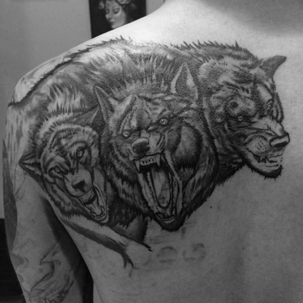 Mens Upper Back Shoulder Cerberus Tattoos
