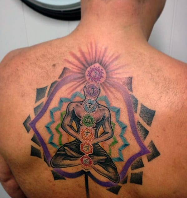 Mens Upper Back Spiritual Chakras Tattoo Design