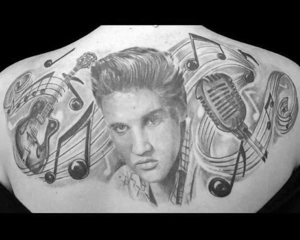 Mens Upper Back Tattoo Ideas With Elvis Presley Design