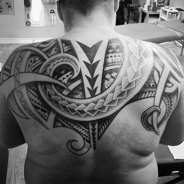 Mens Upper Back Tattoo Polynesian Tribal Design Ideas