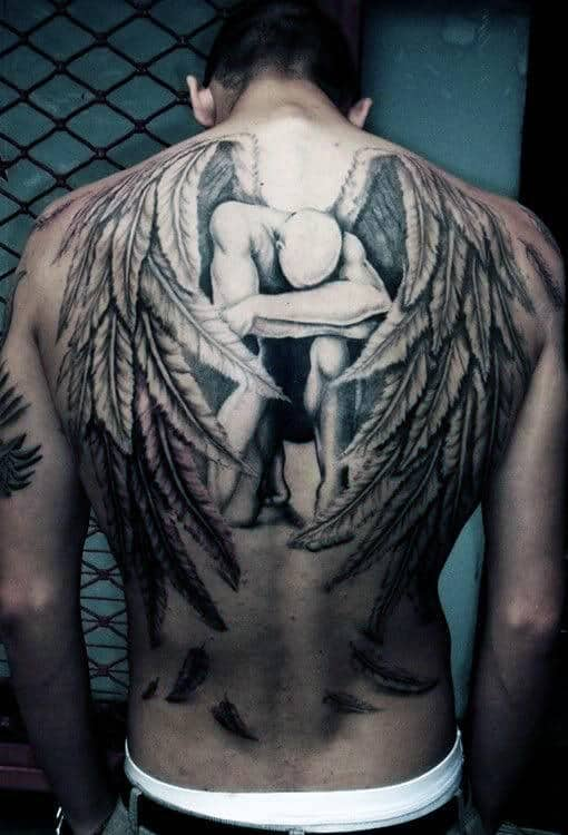 Men's Wings Upper Back Tattoos