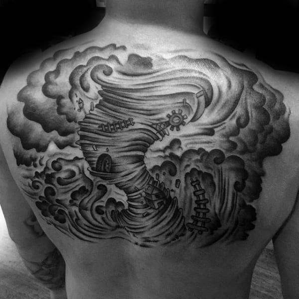 Mens Upper Back Tornado Tattoos