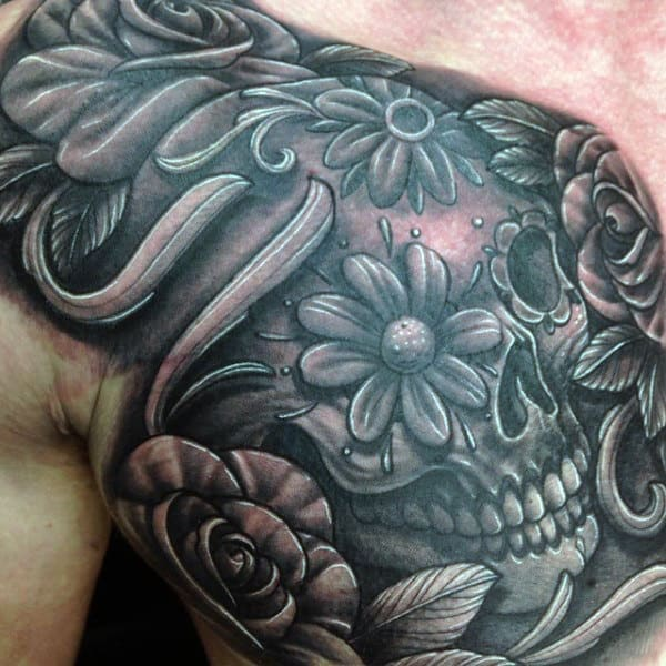 Mens Upper Chest 3d Sugar Skull Tattoo Design Idea Inspiration