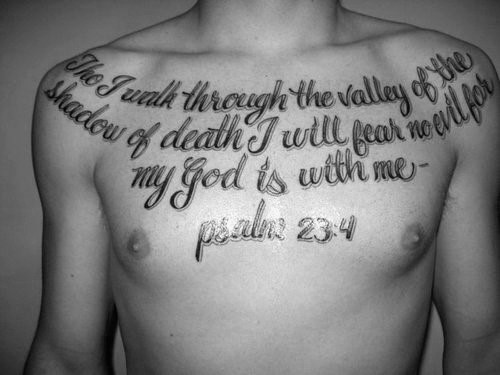 Mens Upper Chest And Shoulder Psalm 23 Tattoos