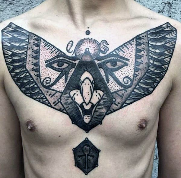 Mens Upper Chest Ankh And Eye Of Horus Tattoo Design Ideas