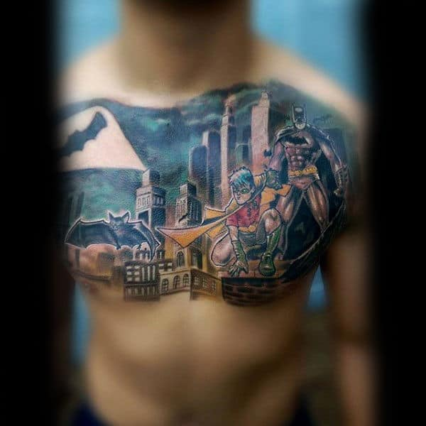 Mens Upper Chest Batman Signal With Robin On City Tower Building Tattoo