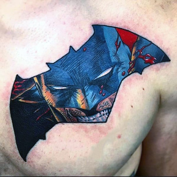Mens Upper Chest Batman Symbol Tattoo Ideas