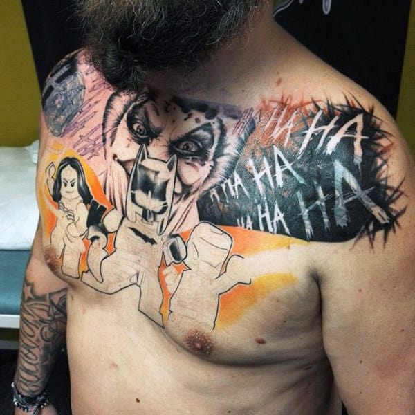 Mens Upper Chest Batman Themed Tattoos With Lego Design