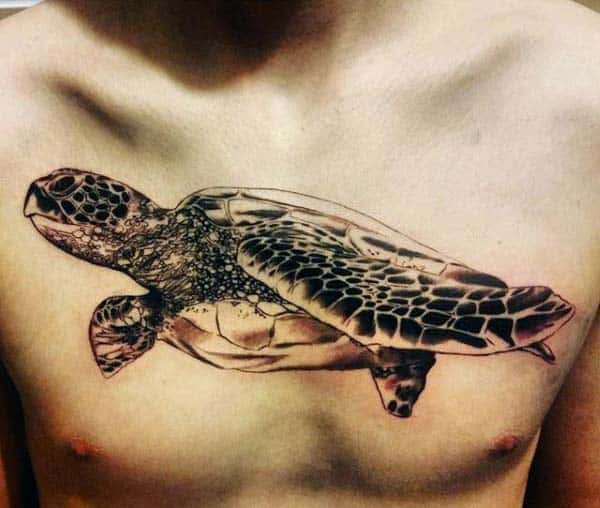 Mens Upper Chest Black Ink Shaded Turtle Tattoos