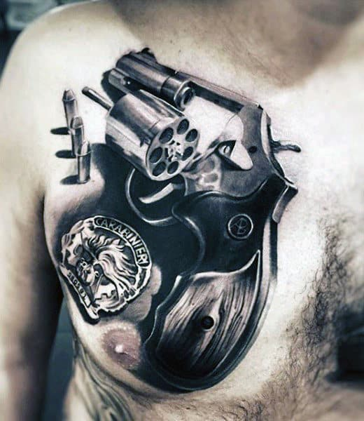 Mens Upper Chest Bullet Tattoo With Revolver Design Realistic