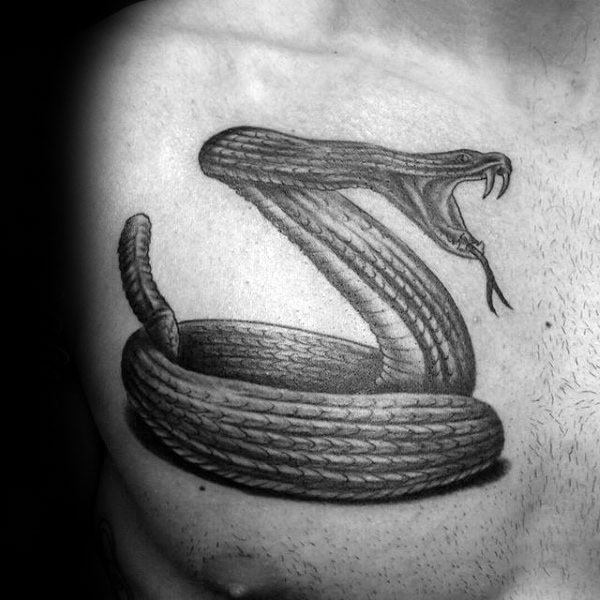 Mens Upper Chest Coiled Rattlesnake Tattoos