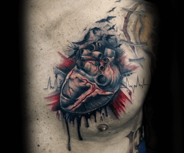 Mens Upper Chest Cool Broken Heart With Heart Beat Tattoo Ideas
