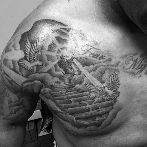 50 heaven tattoos for men higher place design ideas for Stairway to heaven tattoo chest
