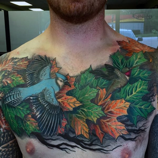 Mens Upper Chest Maple Leaf Tattoo Designs