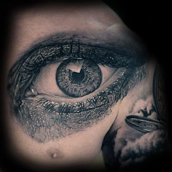 Mens Upper Chest Realistic Eye Tattoo Designs