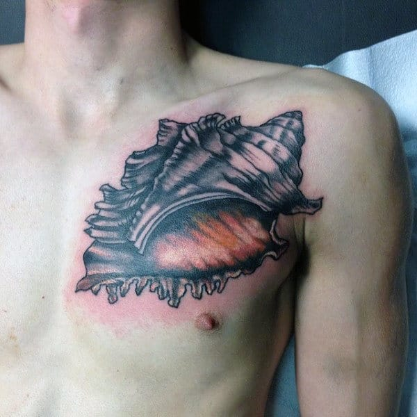 Mens Upper Chest Seashell Tattoo Deisgn Inspiration