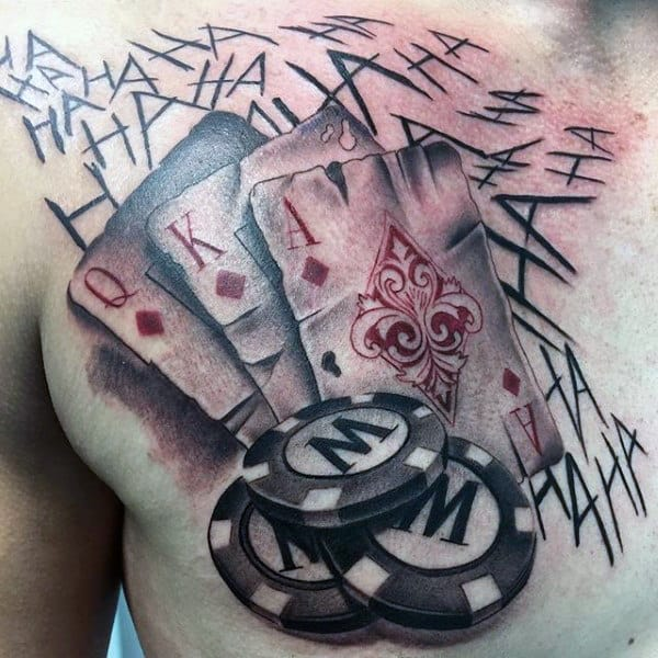 Mens Upper Chest Shaded Playing Card With Poker Chips Tattoo