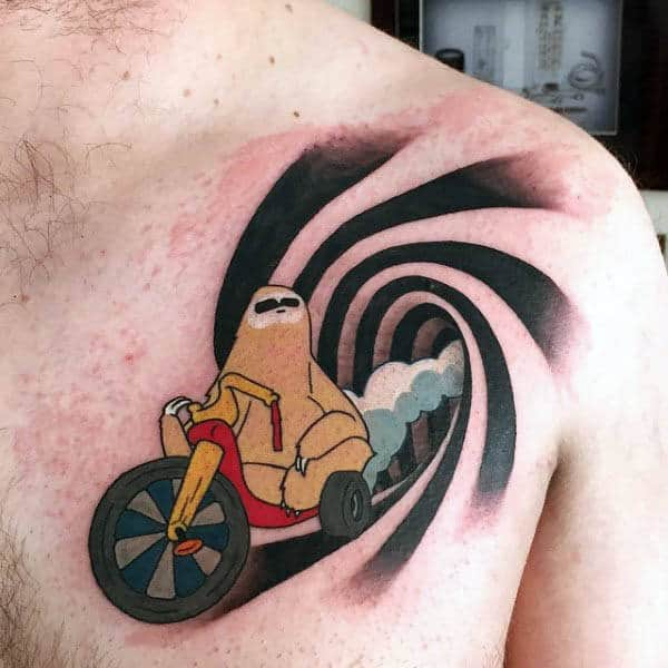 Mens Upper Chest Sprial Optical Illusion Tattoo Design