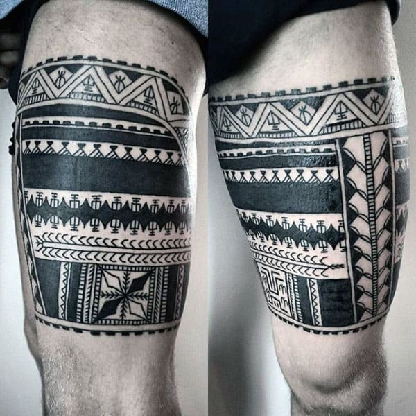 9a039833980f95 60 Tribal Leg Tattoos For Men - Cool Cultural Design Ideas