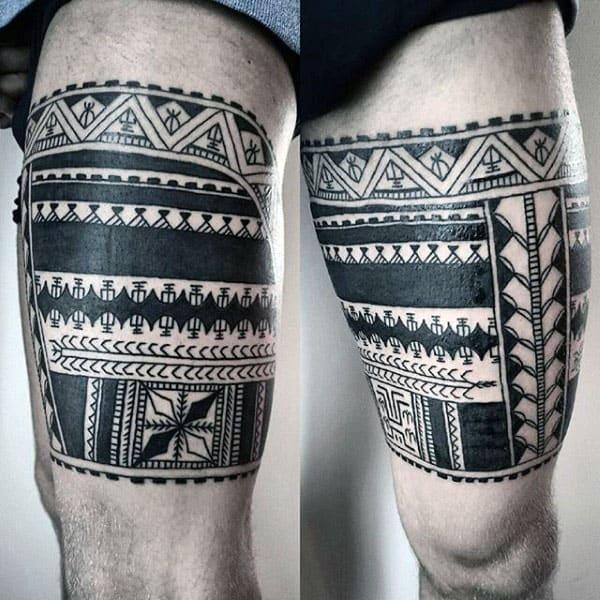 Mens Upper Leg Tribal Tattoo Ideas