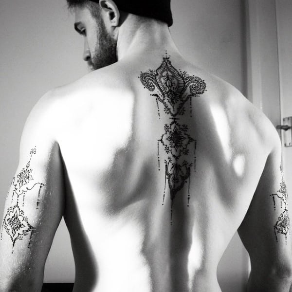 Mens Upper Spine Henna Tattoo