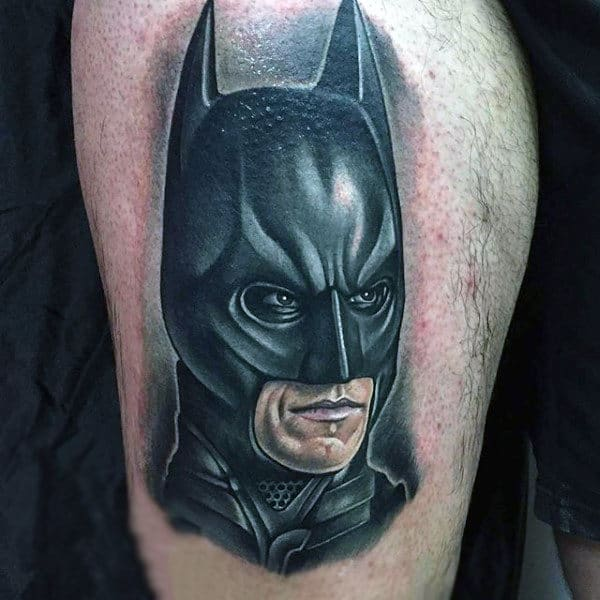Mens Upper Thigh Batman Tattoos