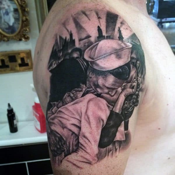Men's US Military Tattoos Of Sailor Kissing Woman