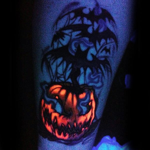 Mens Uv Ink Glow In The Dark Pumpkin Tattoo With Black Bats