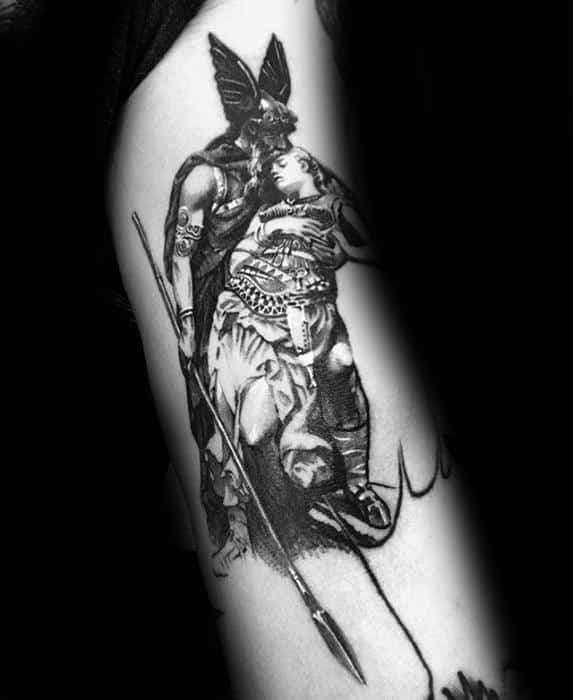 Mens Valkyrie 3d Tattoo On Arm