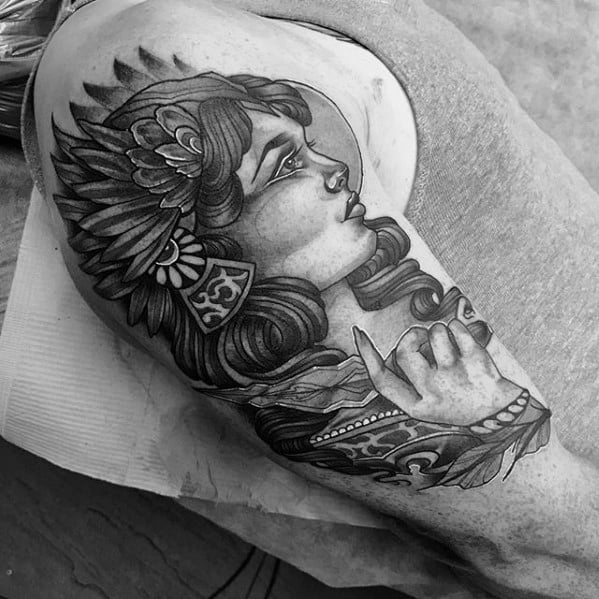Mens Valkyrie Half Sleeve Shaded Tattoo Design Inspiration
