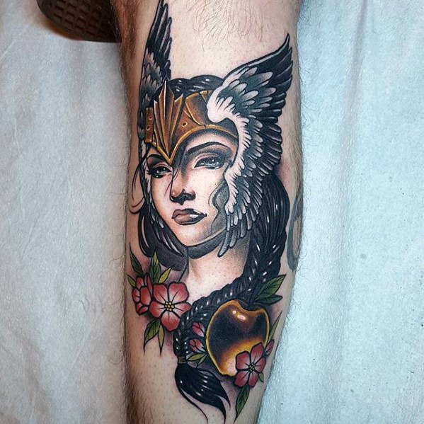 Mens Valkyrie Norse Tattoo Design Ideas On Leg