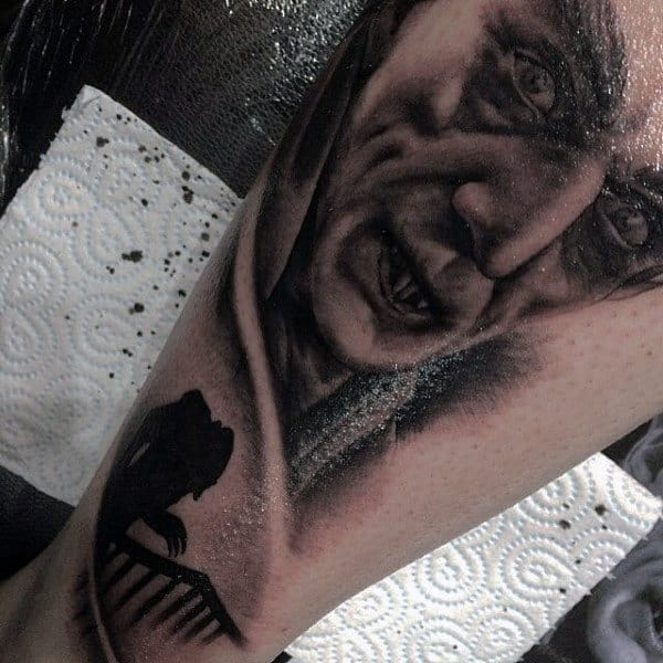 Mens Vampire Arm Tattooos With Shading Ink Work