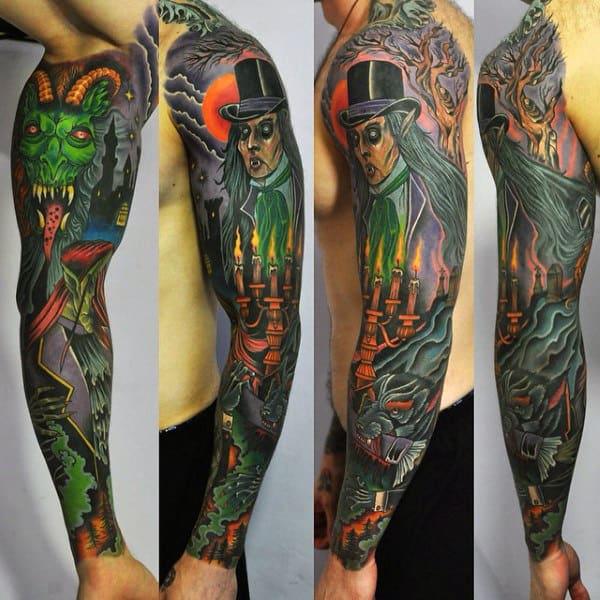Mens Vampire Themed Full Tattoo Sleeve Design Ideas
