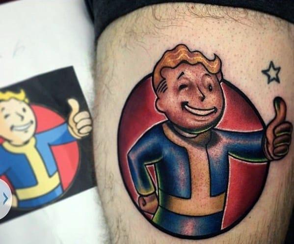 Mens Vault Boy Tattoo Ideas