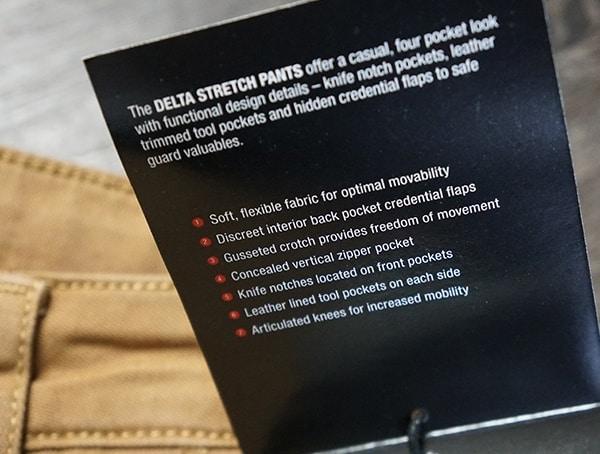 Mens Vertx Delta Strech Pants Features