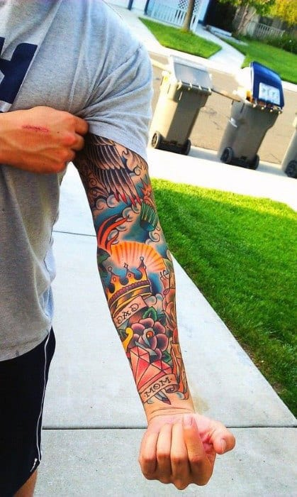 Mens Vibrant Crown Tattoo Sleeves