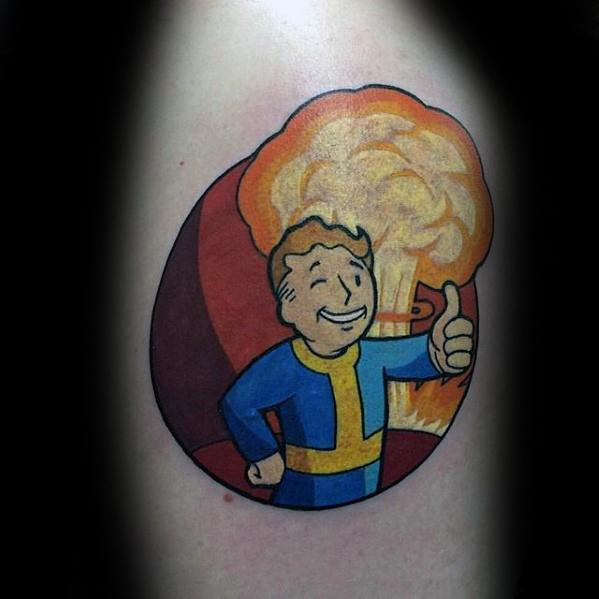 Mens Video Game Fallout Tattoo Design Ideas