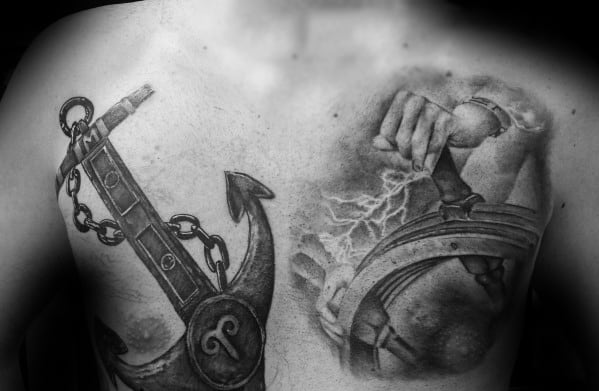 Mens Viking Anchor Chest Tattoo