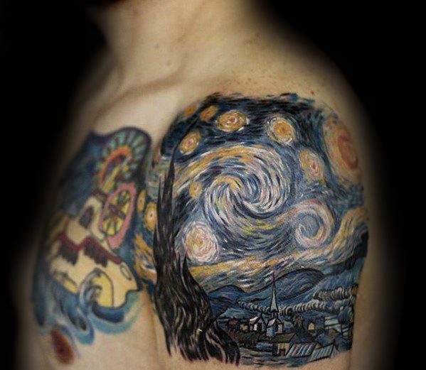 Mens Vincent Van Gogh Shoulder And Arm Tattoo Ideas