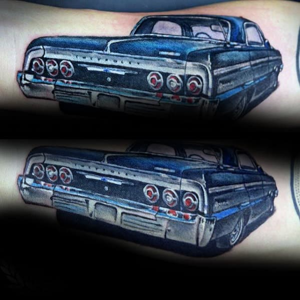 Mens Vintage Blue Chevy Car Inner Forearm Tattoo Designs