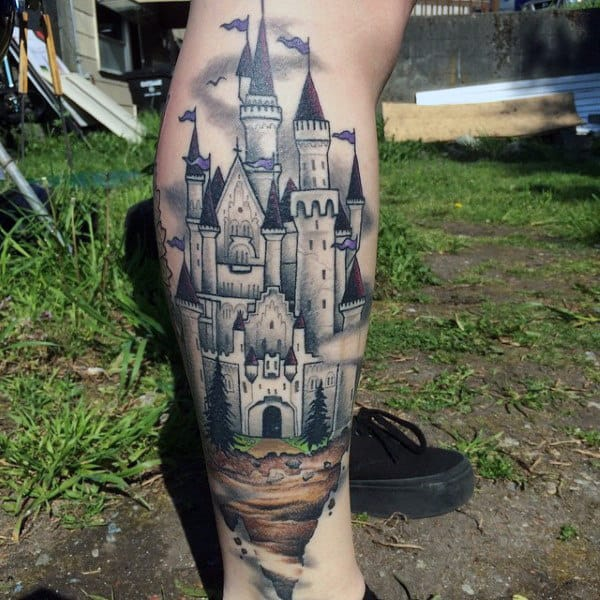 Mens Vintage Castle Tattoo On Legs