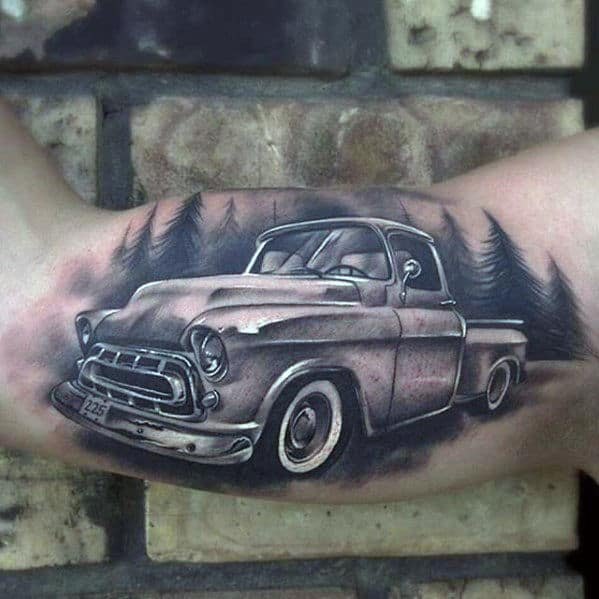 Mens Vintage Chevy Truck Inner Arm Bicep Tattoos With 3d Design