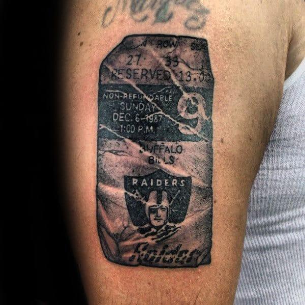 Mens Vintage Nfl Football Ticket Tattoo On Arm
